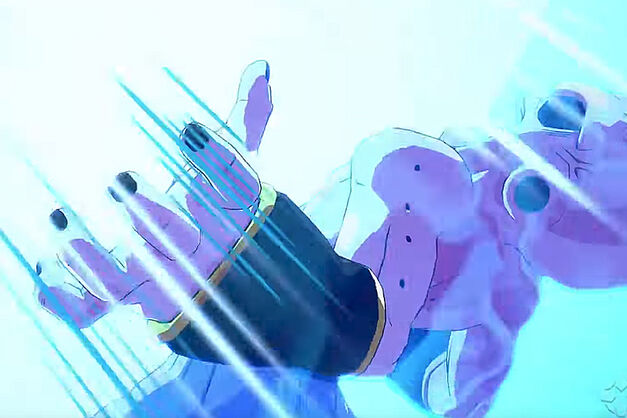 Kid Buu failing to catch the Spirit Bomb.