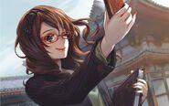 Latest glasses long hair smiling meganekko anime girls telephones midori foo best hd-1280x800