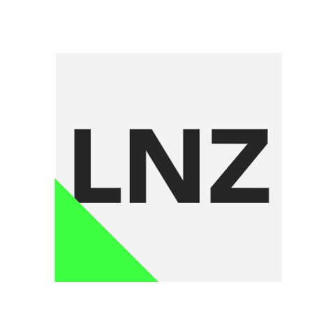 The first logo of LNZ, which would show up in different combinations of the same colour scheme.