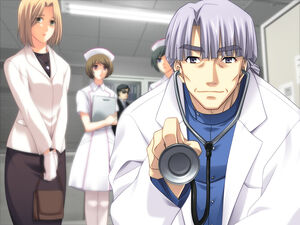 Takumi's doctor analyzing him when he was younger