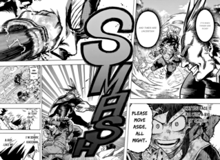 Deku punches a restricted All Might at 5%