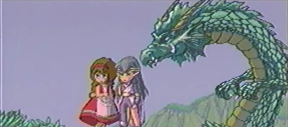 Monster Maker Dark Dragon Knight Raia and Ray looking at Fernand village