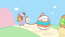 Donkey, Molang and Piu Piu Walking