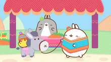 Donkey with Piu Piu, Market Owner and Molang
