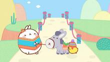 Molang and Piu Piy Pulling Donkey's Rope