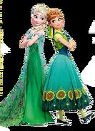 Elsa and Anna Frozen Fever Render