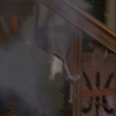 Piper blows up a piece of the stairs.