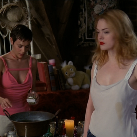 Phoebe working on the potion.