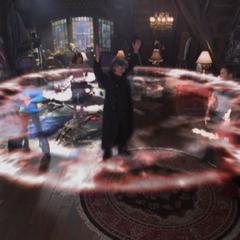 Barbas using an Energy Blast to knock everyone down.