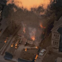 The manor destroyed in an alternate timeline. (