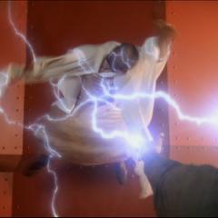 Leo using Electrokinesis to attack Zola.