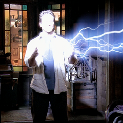 Leo attacks Piper with a lightning bolt whilst being possessed.