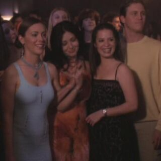 Phoebe, Prue and Piper after vanquishing a Libris in <a href=