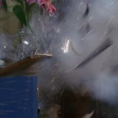 Mabel blows up a vase.