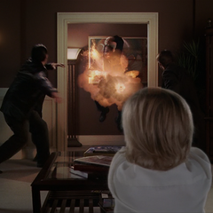 Piper (glamoured into Wyatt) blasts Paul.
