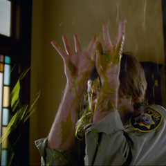 Rick is killed by the Scabbar Demon's acid.