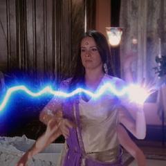 Piper throws a lightning bolt.