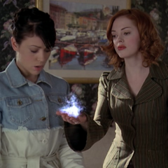 Paige telekinetically orbing the Scrying Crystal.