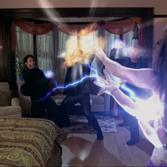 Piper blows up an Energy Ball and shoots a lightning bolt.