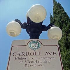 Tablica mówiąca o historii Carrol Avenue mieszcząca się na końcu alei.