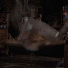 Piper blows up a couch.