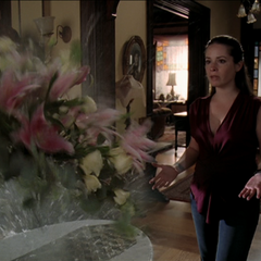 Piper accidentally blows up a vase.