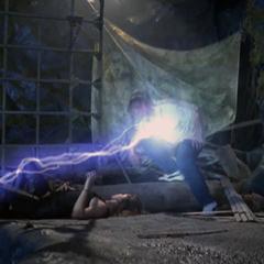 Necron attacks Leo.