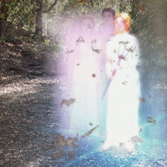 Piper and Phoebe whirling in and Paige using Lightning Teleportation (as Goddesses).