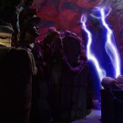 Necron using Lightning Teleportation.