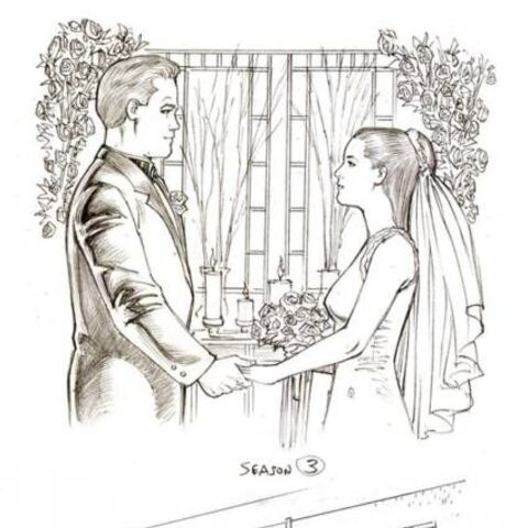 Sketches by Dave Hoover showing Piper and Leo's wedding and Piper with excalibur