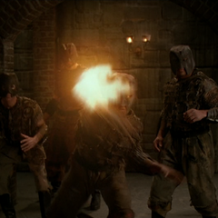 A Swarm Demon throws a fireball at the Charmed Ones.