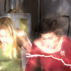 The Soul Blaster Demon blasts Phoebe and Paige's souls out of their bodies.