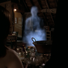 Piper (as an Angel of Death) dark wisping in in the attic.