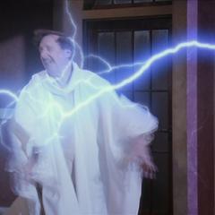 Possessed Leo kills another Elder with a lightning bolt.