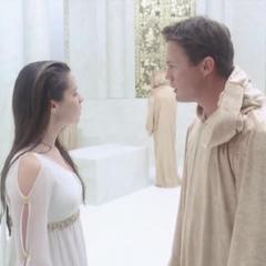 Piper confronting Leo in the Upper Regions.