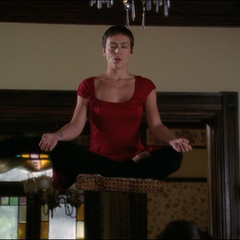 Phoebe levitates whilst meditating.