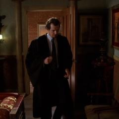 Gideon telekinetically closes the door of his office.