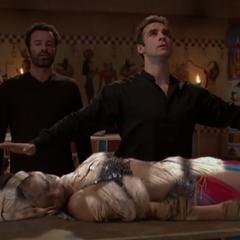 Jeric mummifies Phoebe.