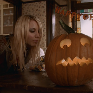 A carved pumpkin set as decoration in the Manor.