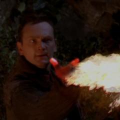 Xavier attacks the Nymphs.