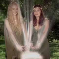 Miranda and Daisy opening the Eternal Spring.