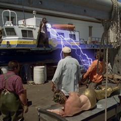 Necron using Electrokinesis to kill two fisherman.