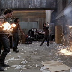 The Demons throw fireballs at the dumpster.