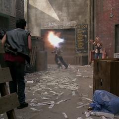 Paige deviates the fireball.