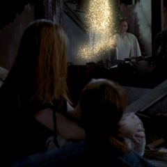 Leo is teleported to the Manor by the Angel of Destiny.