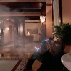 Piper attacks Barbas using Electrokinesis.