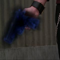 Parallell Chris black orbs Darryl's gun into his hand.