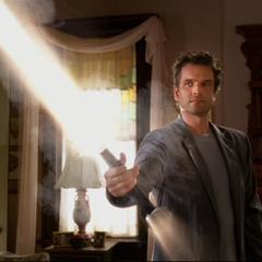 Mordaunt conjures a sword.