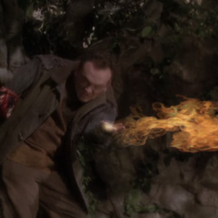 Xavier throws fire at Piper and Phoebe.