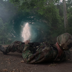 Mist comes to the dying soldier using a Portal.